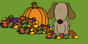 Cartoon dog in Fall leaves with pumpkin